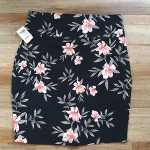 Navy floral stretchy pencil skirt